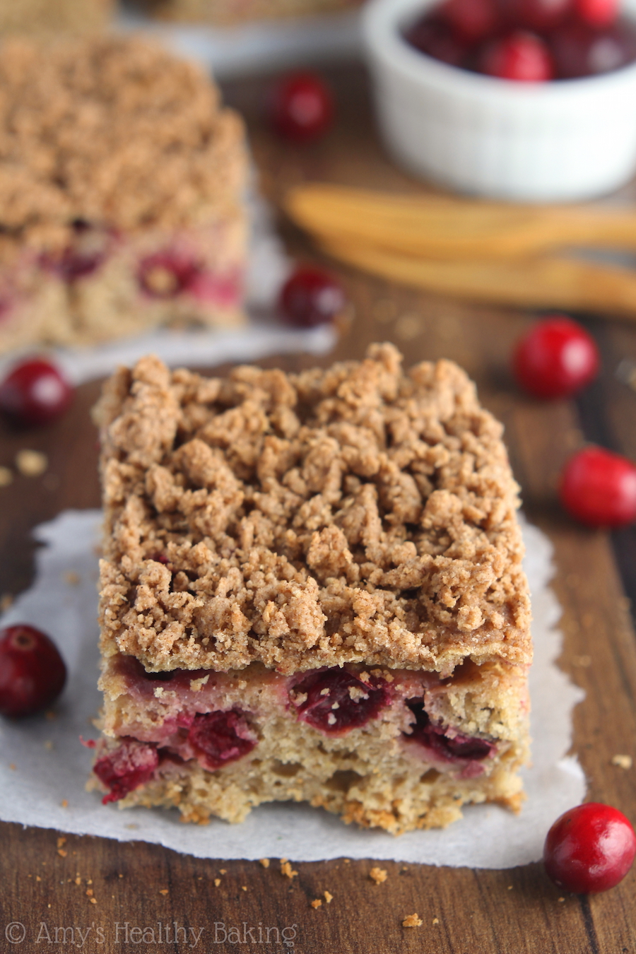 """Eat """"dessert"""" for breakfast with this easy Cranberry Crumb Coffee Cake! It's clean, healthy & has the most addictive cinnamon streusel!"""