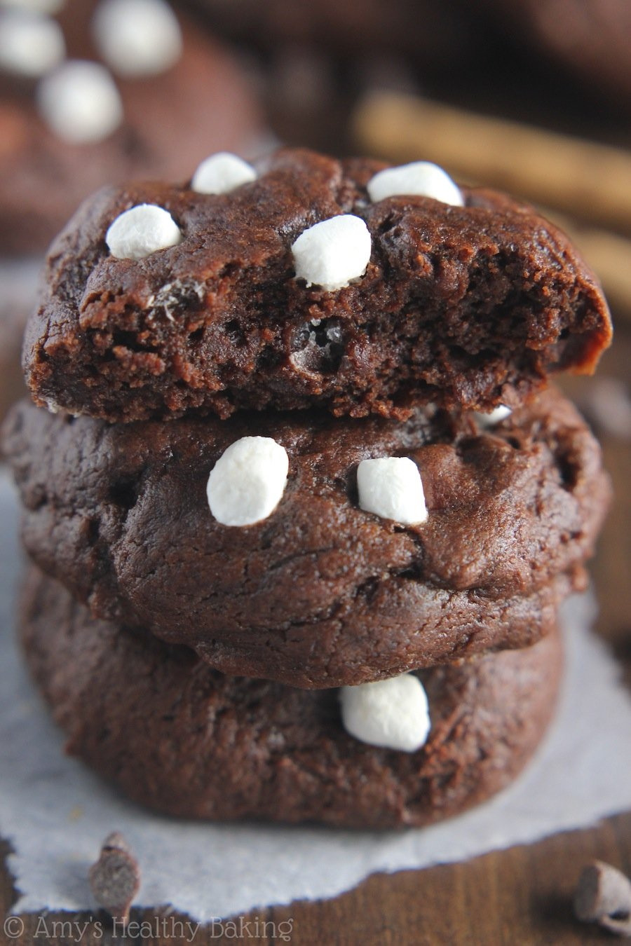 Peppermint Hot Chocolate Cookies -- they taste even better than the drink! SO fudgy & rich. These skinny cookies don't taste healthy at all!