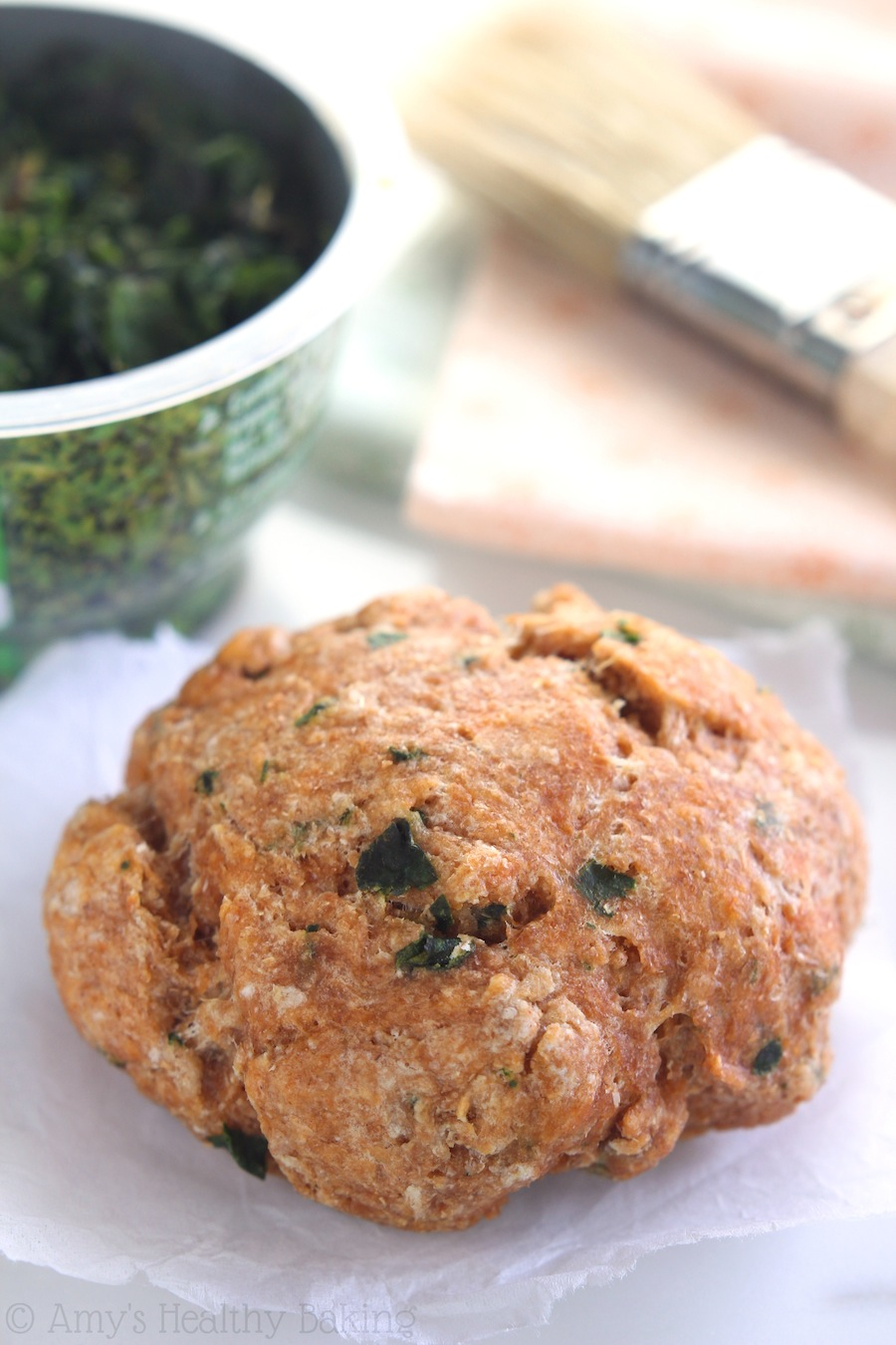 Tomato Basil Scones -- the softest you'll ever eat, thanks to one healthy secret ingredient! Say good-bye to dry crumbly scones forever!