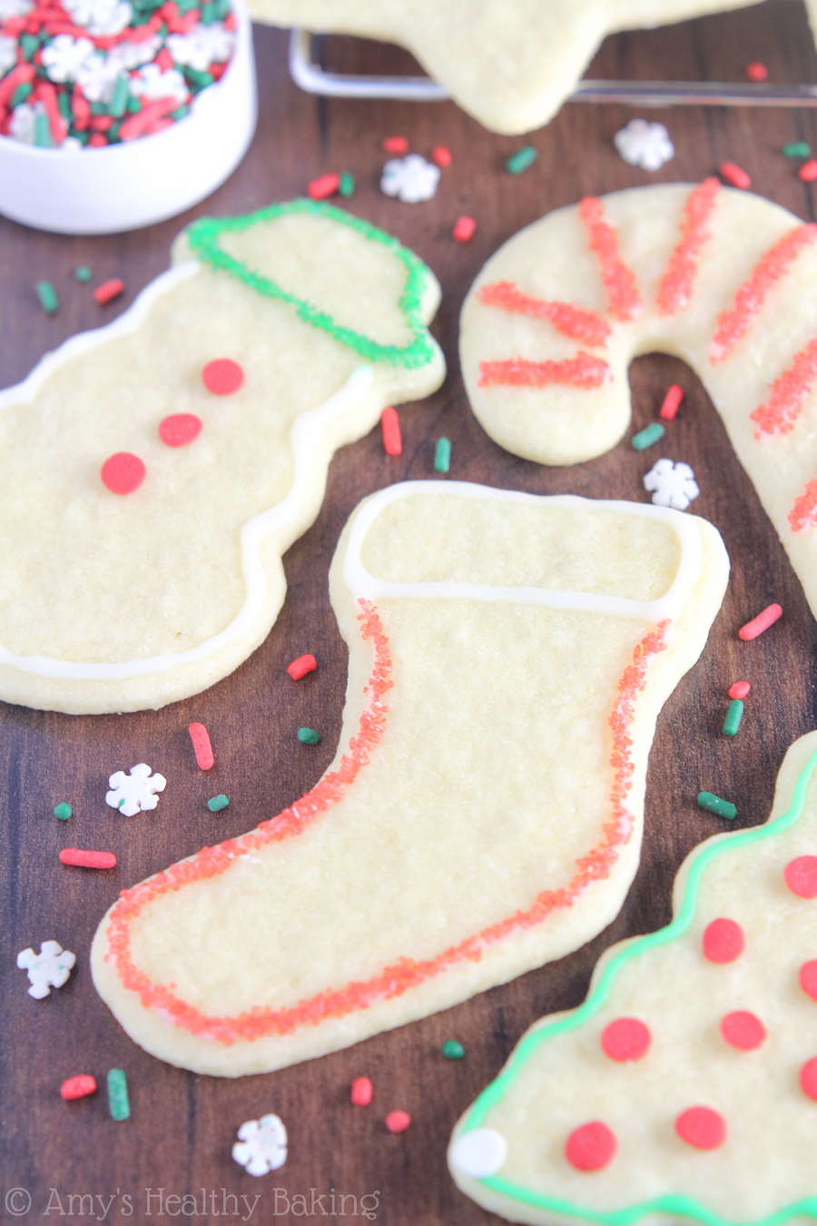 These Skinny Christmas Sugar Cookies are SO easy to make! One secret ingredient makes them taste just as buttery as traditional ones -- not healthy at all!