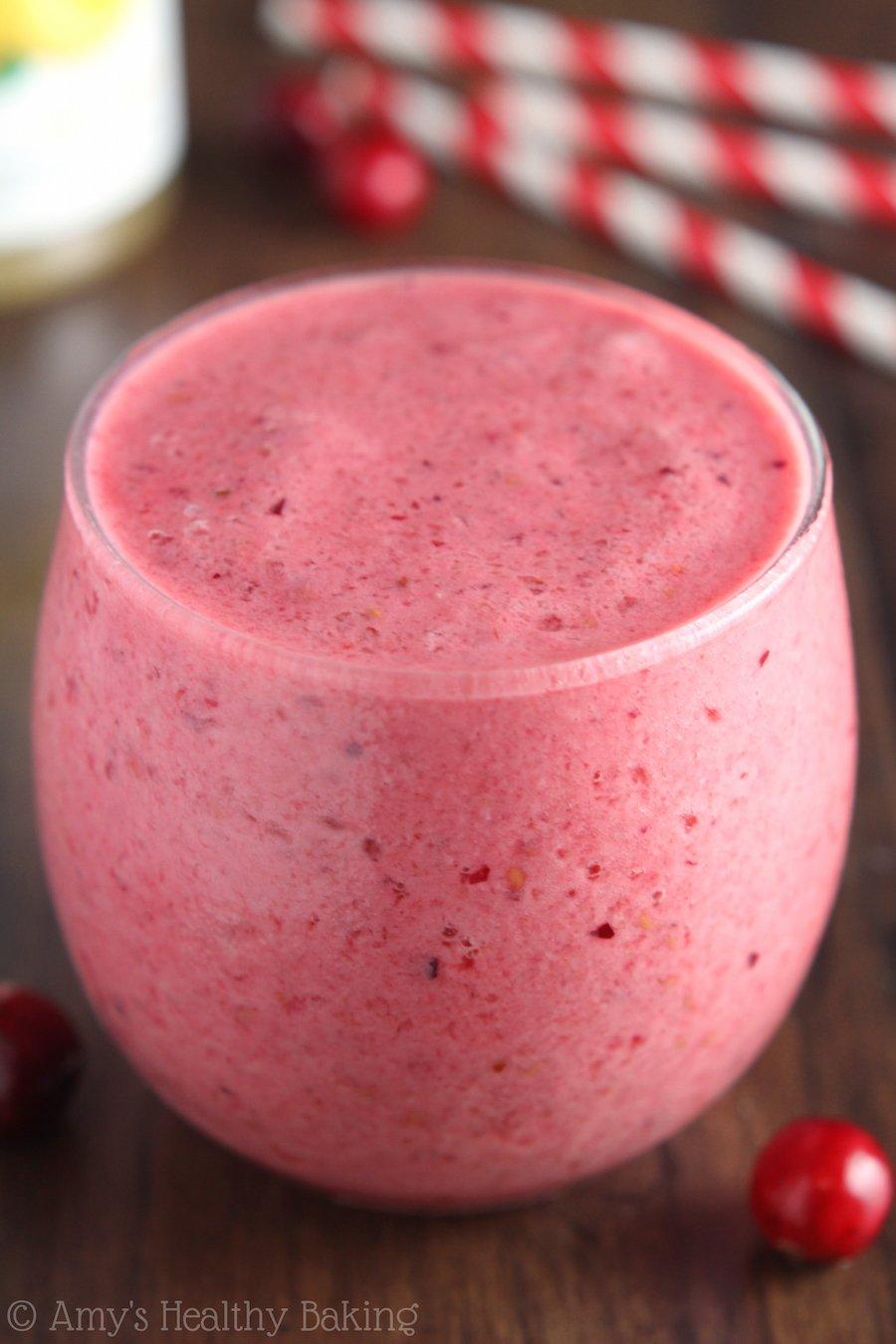 Cran-Raspberry Lemonade Protein Smoothie -- 13 grams of protein & no protein powder! Sweet, fruity & super healthy!