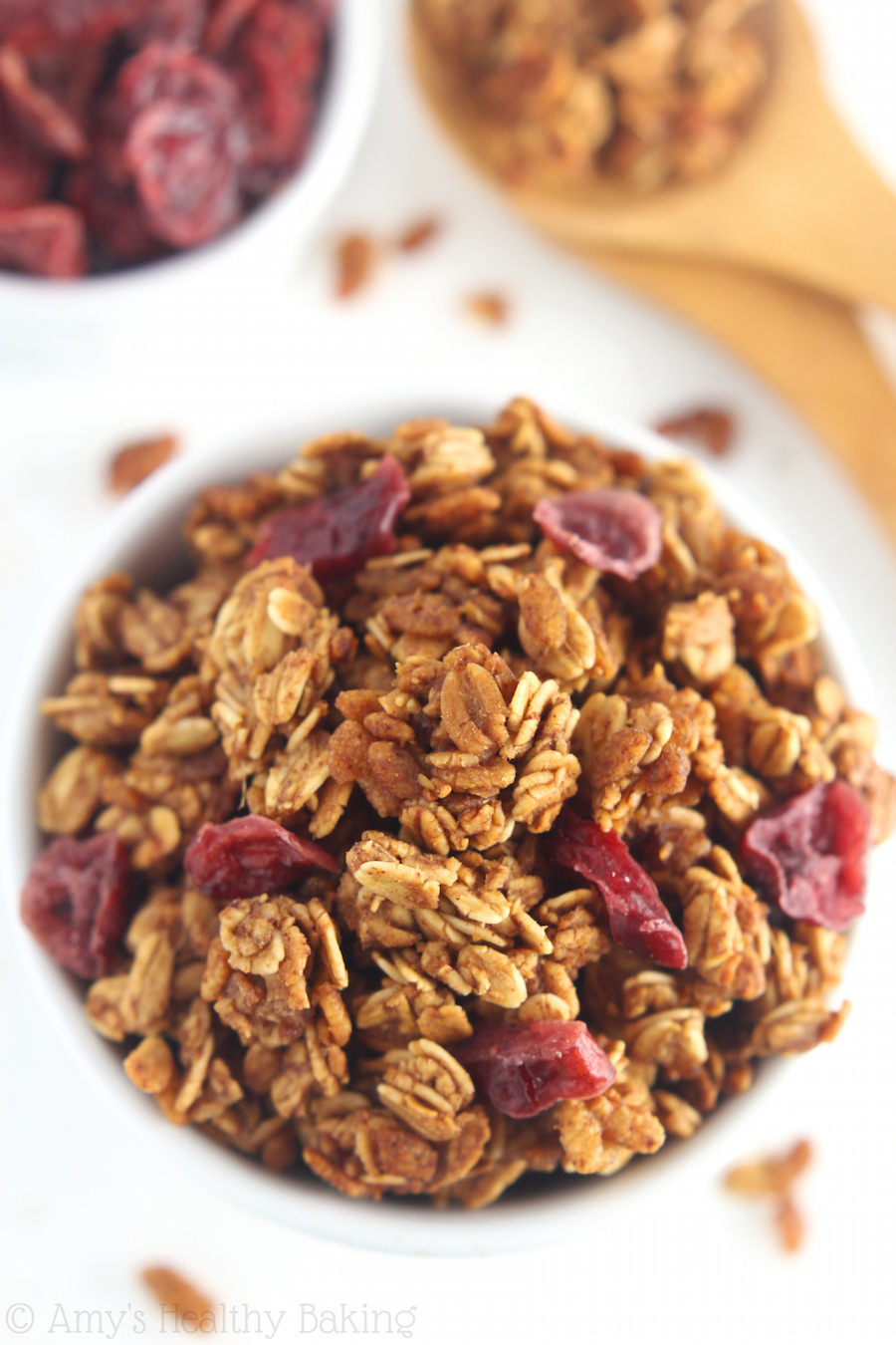Cranberry Gingerbread Granola - an easy recipe packed full of crunchy clusters! Even better, it's healthy AND delicious!
