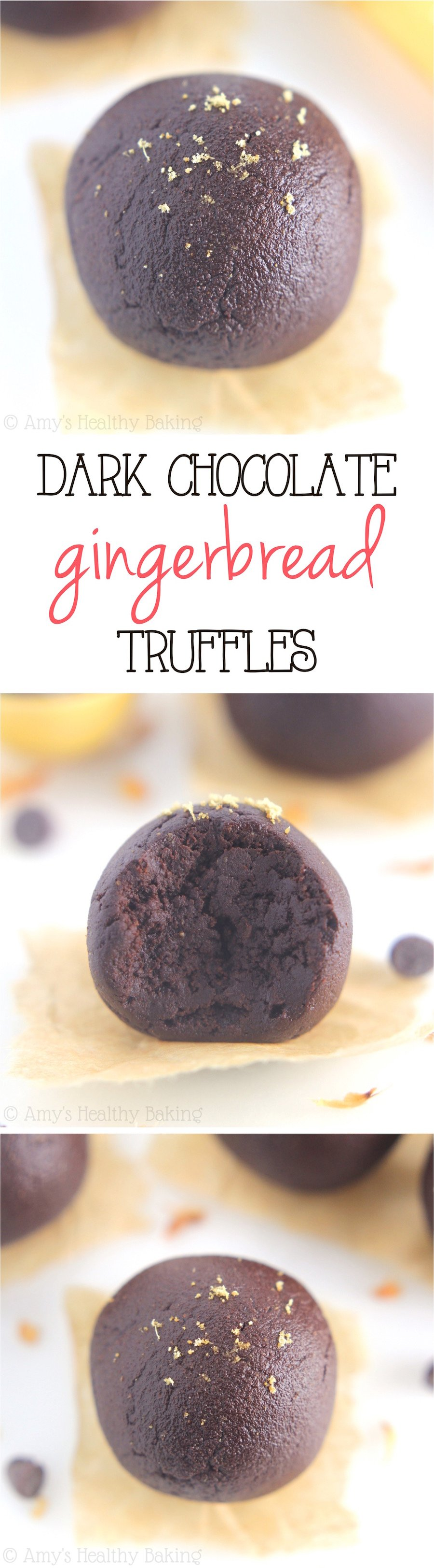 Dark Chocolate Gingerbread Truffles -- the easiest truffles you'll ever make! Only 5 ingredients & 29 calories!