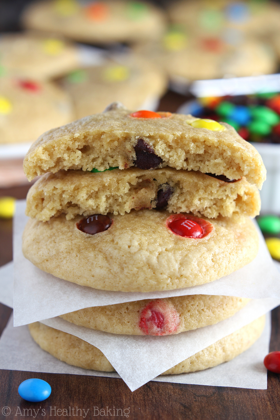 Rainbow Chocolate Chip Cookies -- SO soft & chewy! These buttery cookies don't taste healthy at all!