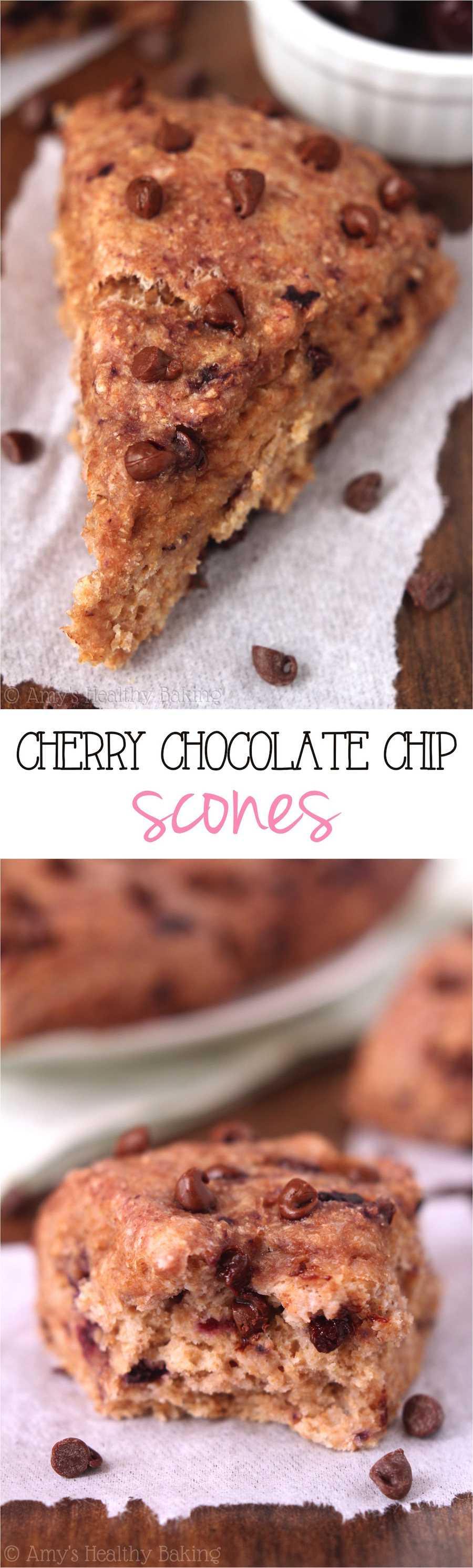 Cherry Chocolate Chip Scones | Amy's Healthy Baking