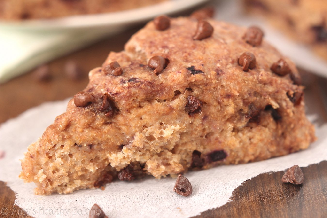 Cherry Chocolate Chip Scones -- with tons of rich melty chocolate & made healthier with yogurt instead of butter!