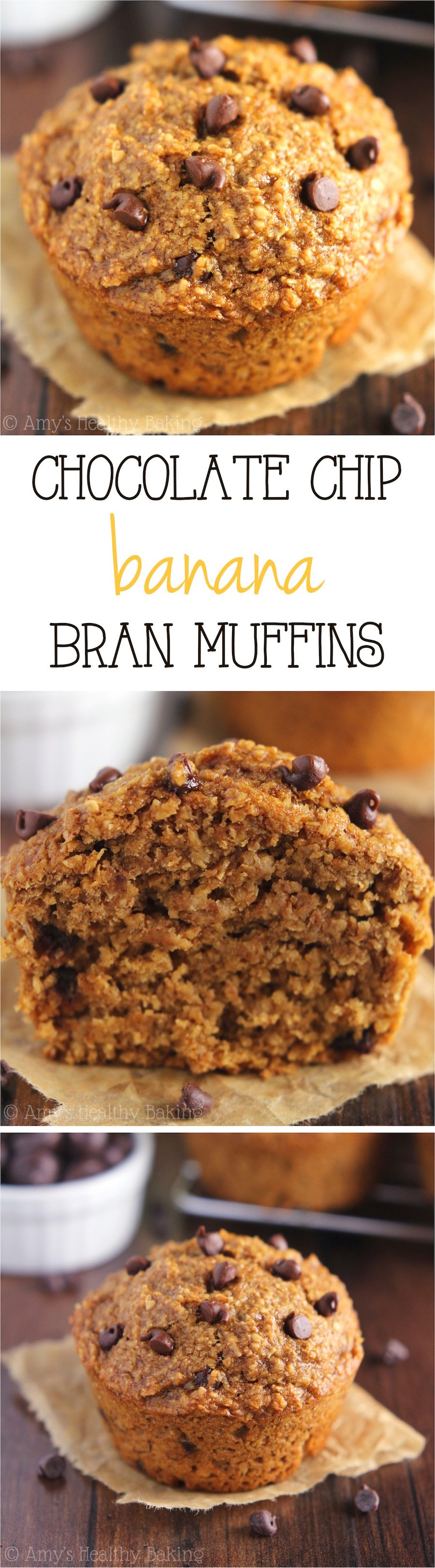 Chocolate Chip Banana Bran Muffins -- an easy, no-fuss recipe for the moistest bran muffins you'll ever eat! Full of chocolate & still really healthy!