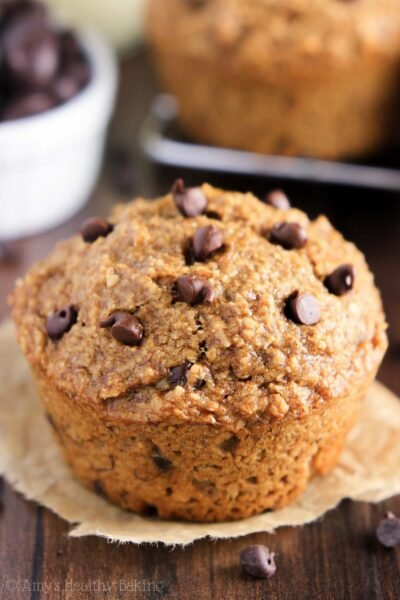 Healthy Chocolate Chip Banana Bran Muffins