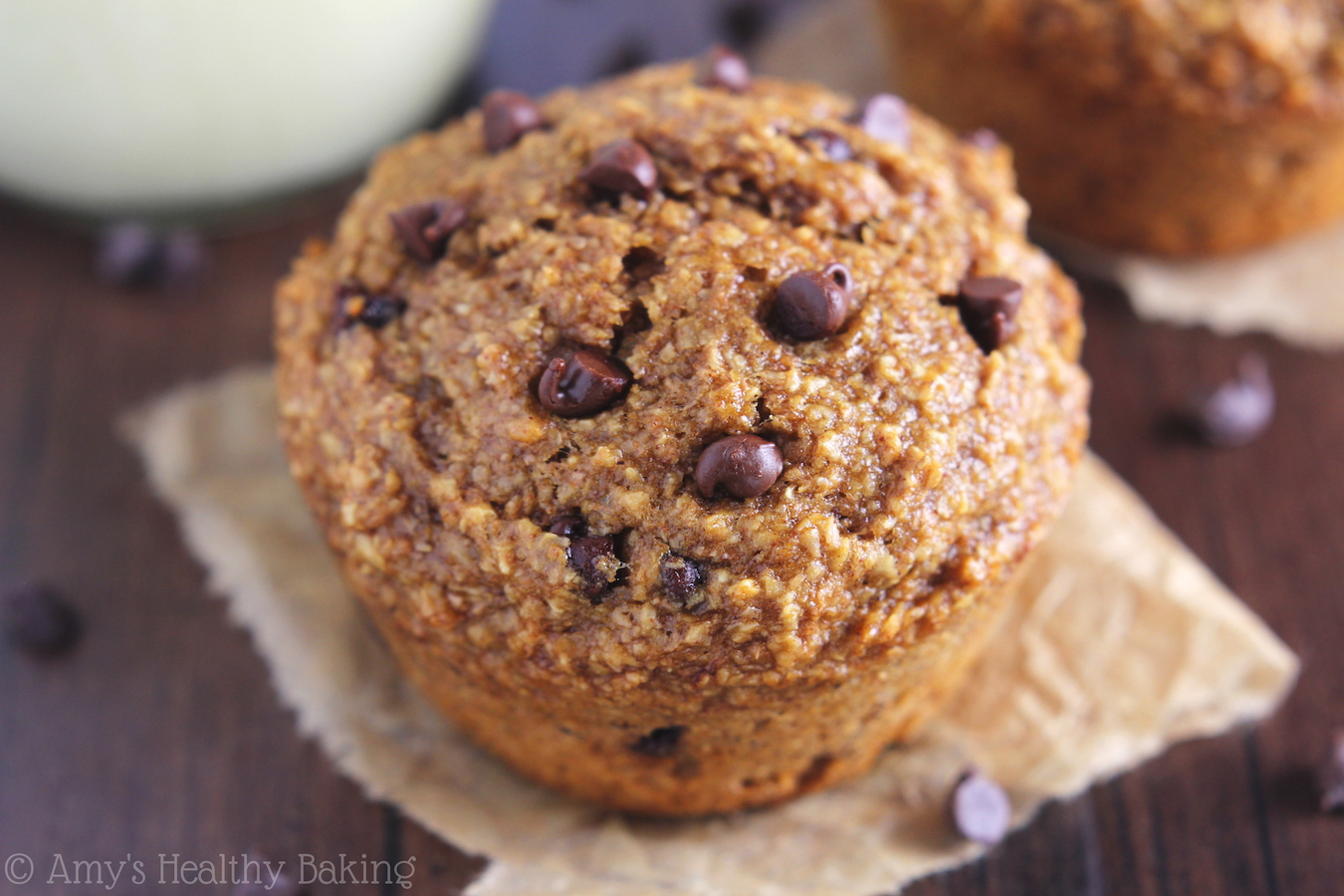 Chocolate Chip Banana Bran Muffins | Amy's Healthy Baking
