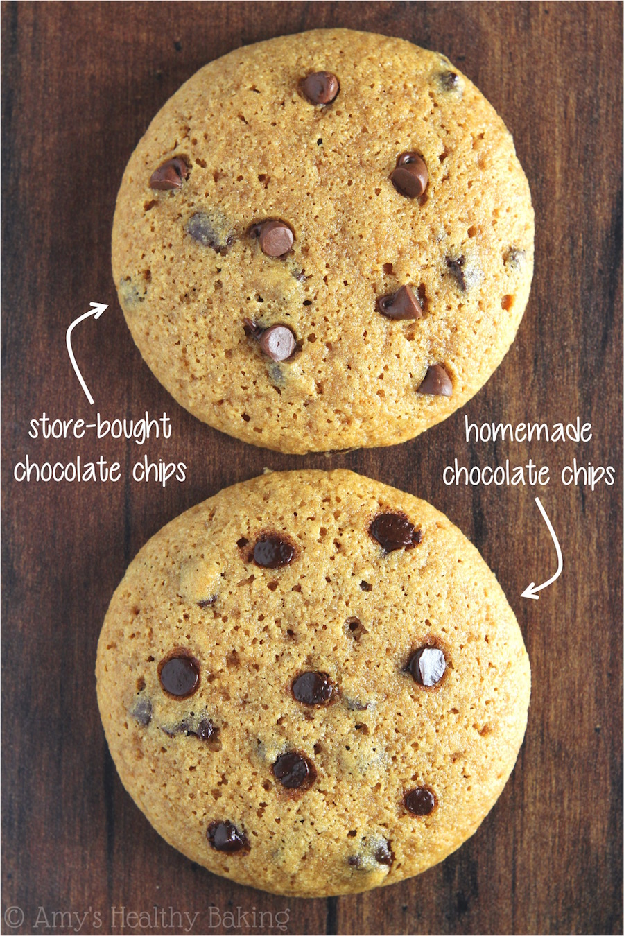 Clean Eating Chocolate Chip Cookies -- the difference between store-bought & homemade chocolate chips!