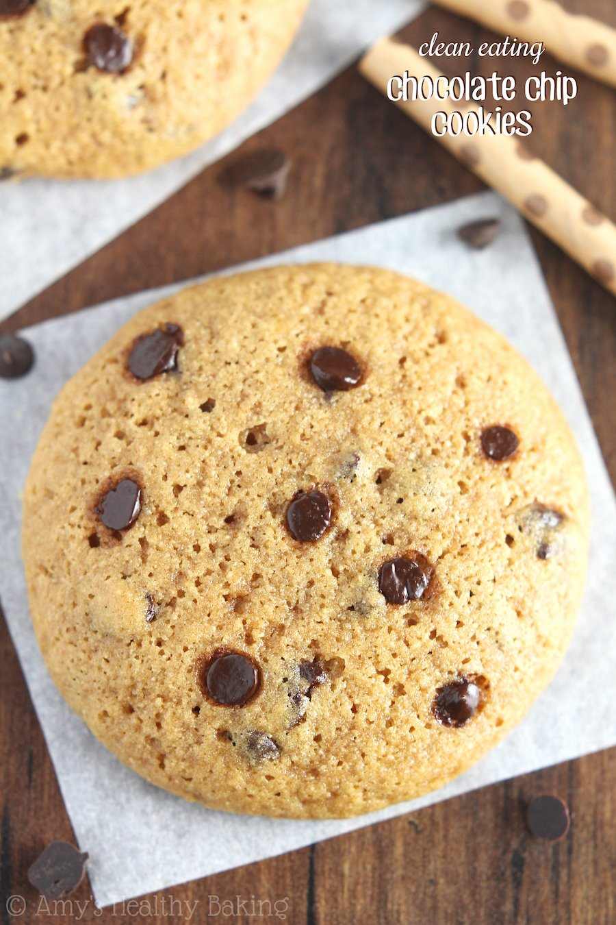 Clean Eating Chocolate Chip Cookies -- these skinny cookies don't taste healthy at all! They're soft, chewy & the only recipe you'll ever need!