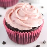 Dark Chocolate Cupcakes with Raspberry Frosting -- easy & decadent! That frosting is the BEST I've ever had! Smooth, creamy & NO butter or powdered sugar!