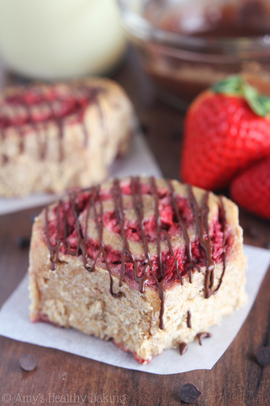 Strawberry Sweet Rolls with Dark Chocolate Drizzle -- like eating chocolate-dipped strawberries as a healthy breakfast!