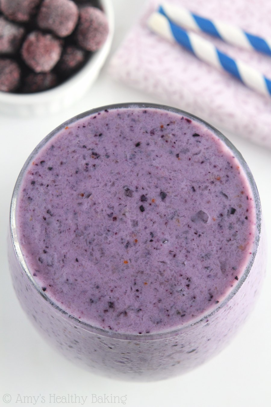 Blueberry Banana Protein Smoothie -- start your day with 19g+ of protein in this sweet, skinny drink! Only 5 ingredients, including ice!