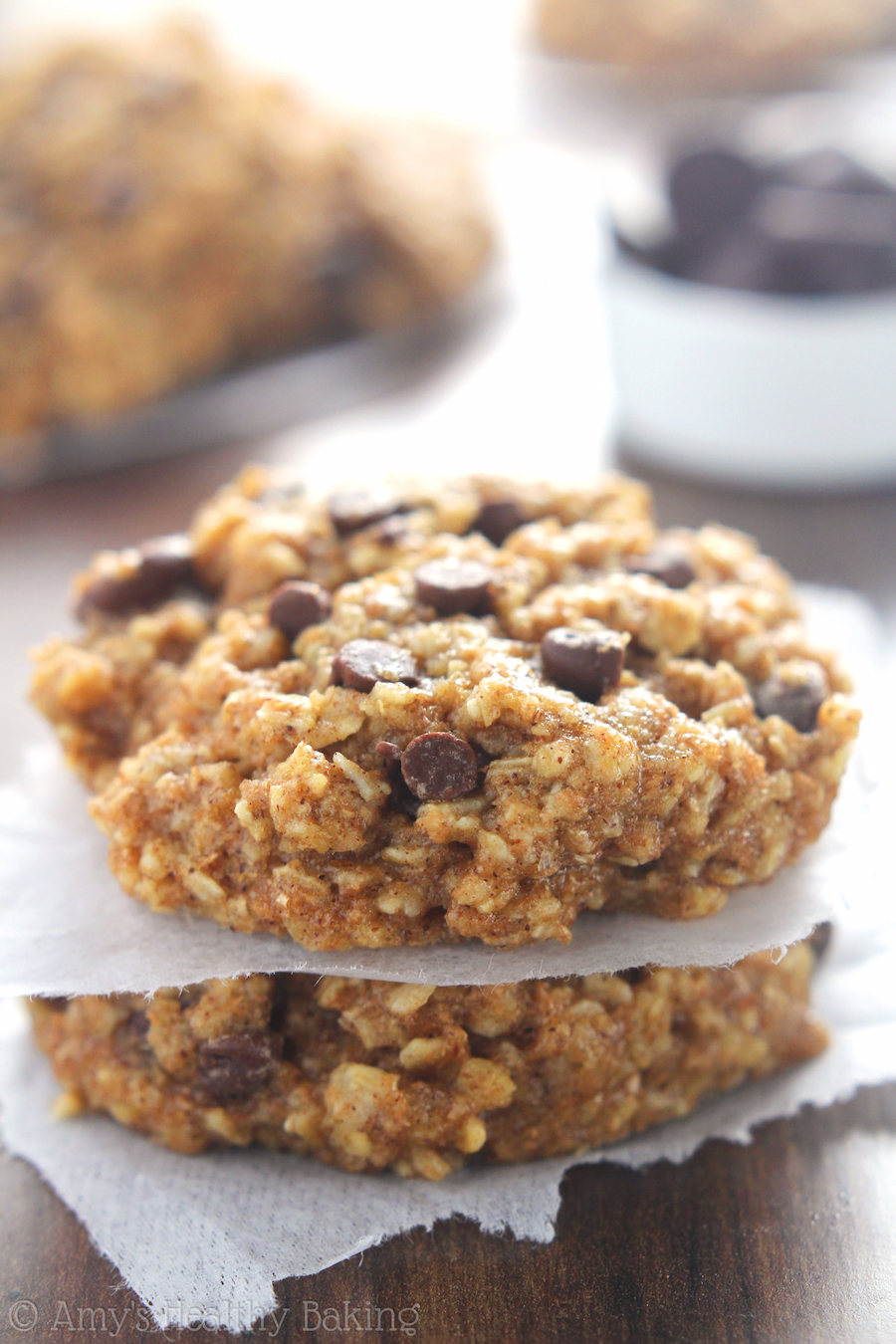 Chocolate Chip Banana Bread Oatmeal Cookies | Amy's Healthy Baking