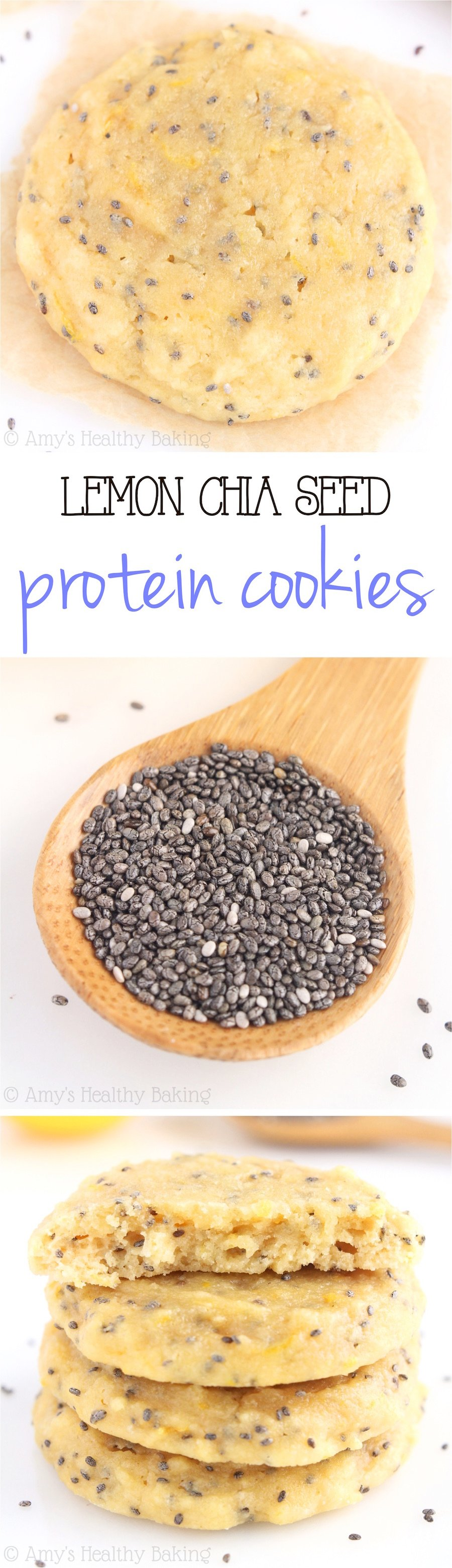 Lemon Chia Seed Protein Cookies -- these skinny, protein-packed cookies don't taste healthy at all! Even better, they're low carb & 100% acceptable for breakfast!