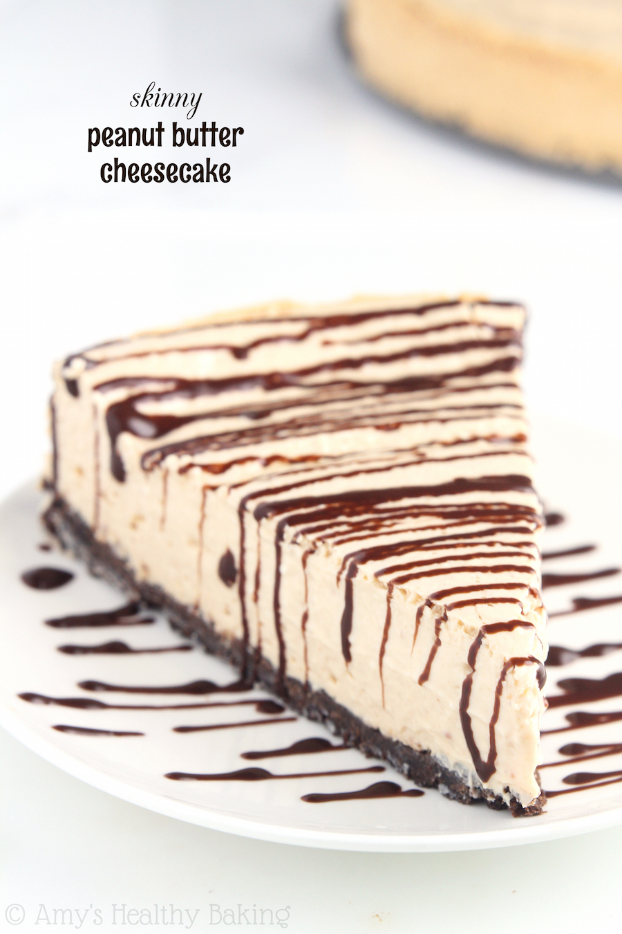 Skinny Peanut Butter Cheesecake -- a super easy recipe that's packed with PB flavor & over 17g of protein! You could have 5 SLICES of this & still consume fewer calories than is in 1 slice of the Cheesecake Factory's!