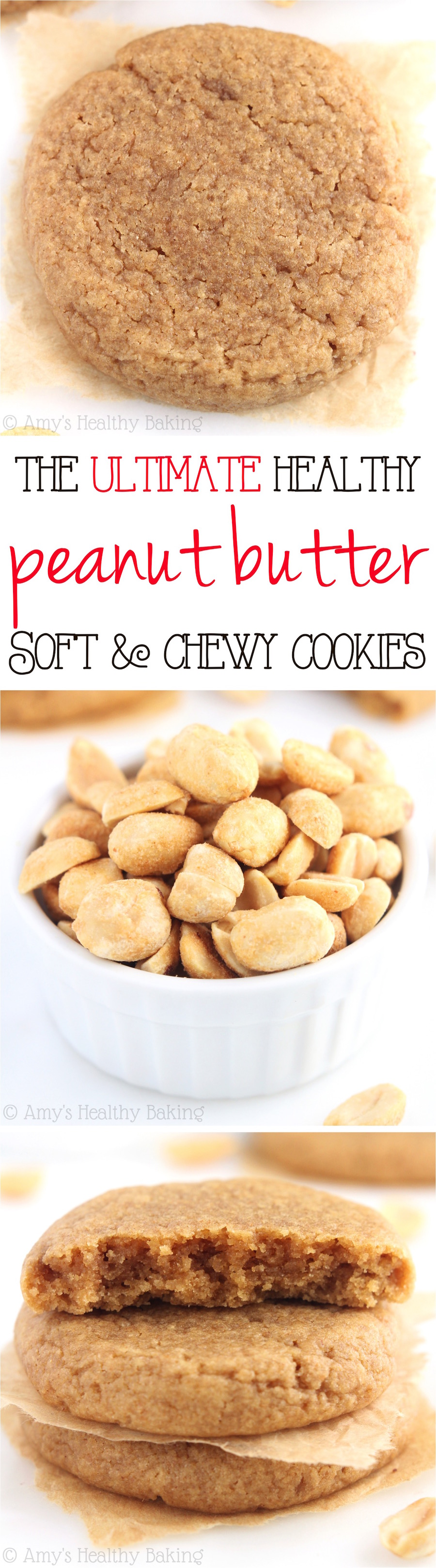 The ULTIMATE Soft & Chewy Peanut Butter Cookies -- these skinny cookies don't taste healthy at all! You'll never need another peanut butter cookie recipe again!