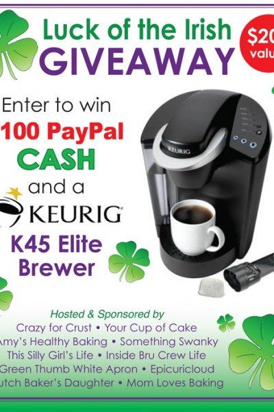 Luck of the Irish Giveaway: Win a Keurig Elite Brewer and $100 PayPal Cash!