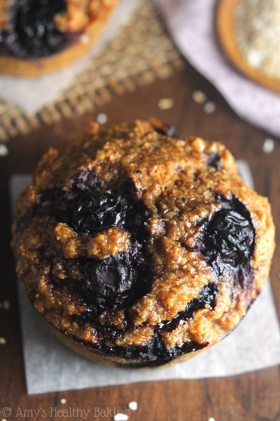 Clean Eating Blueberry Buttermilk Bran Muffins -- one simple trick makes these the moistest bran muffins ever!