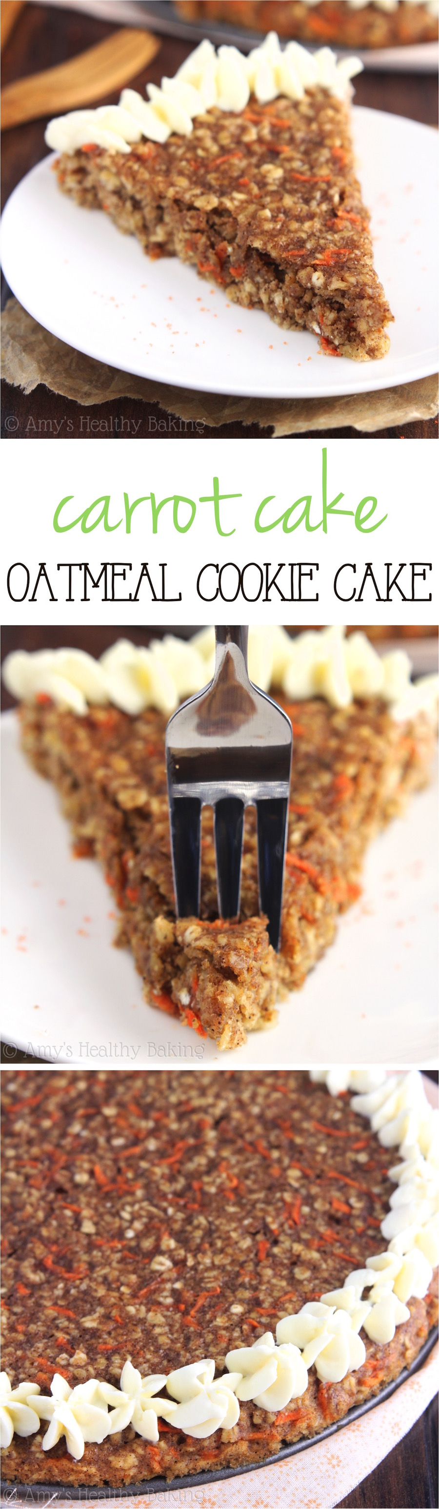 Clean-Eating Carrot Cake Oatmeal Cookie Cake -- this gigantic, skinny cookie doesn't taste healthy at all! You'll never need another oatmeal cookie recipe again!