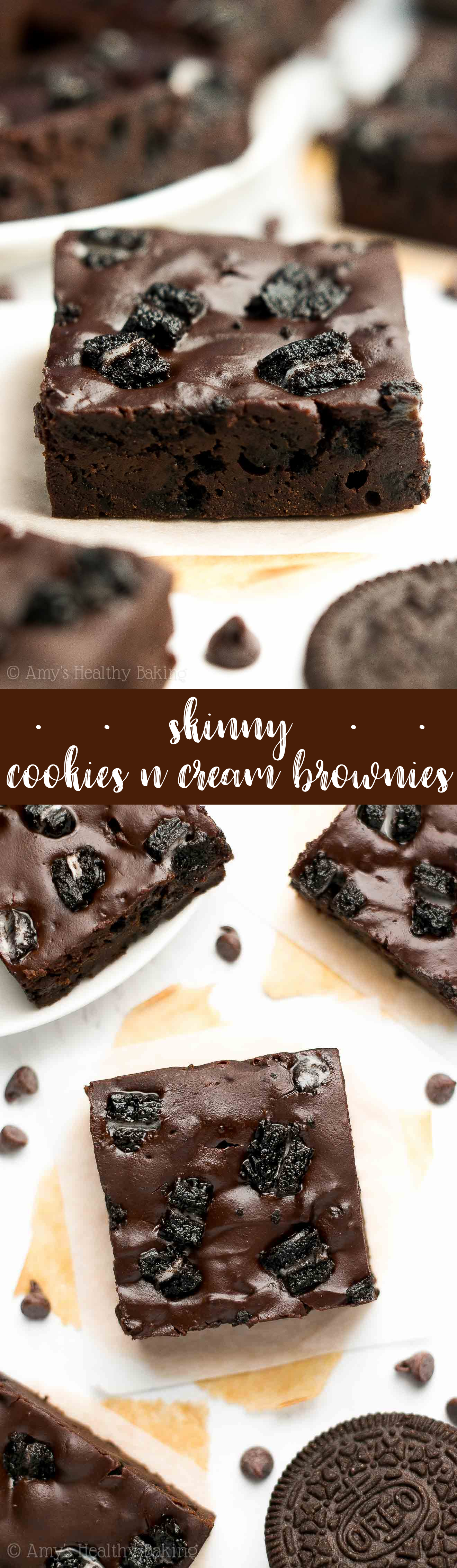 Healthier Cookies 'n Cream Brownies -- for serious chocoholics! Only 99 calories! Supremely rich, fudgy & full of Oreos! The BEST brownies you'll ever have!