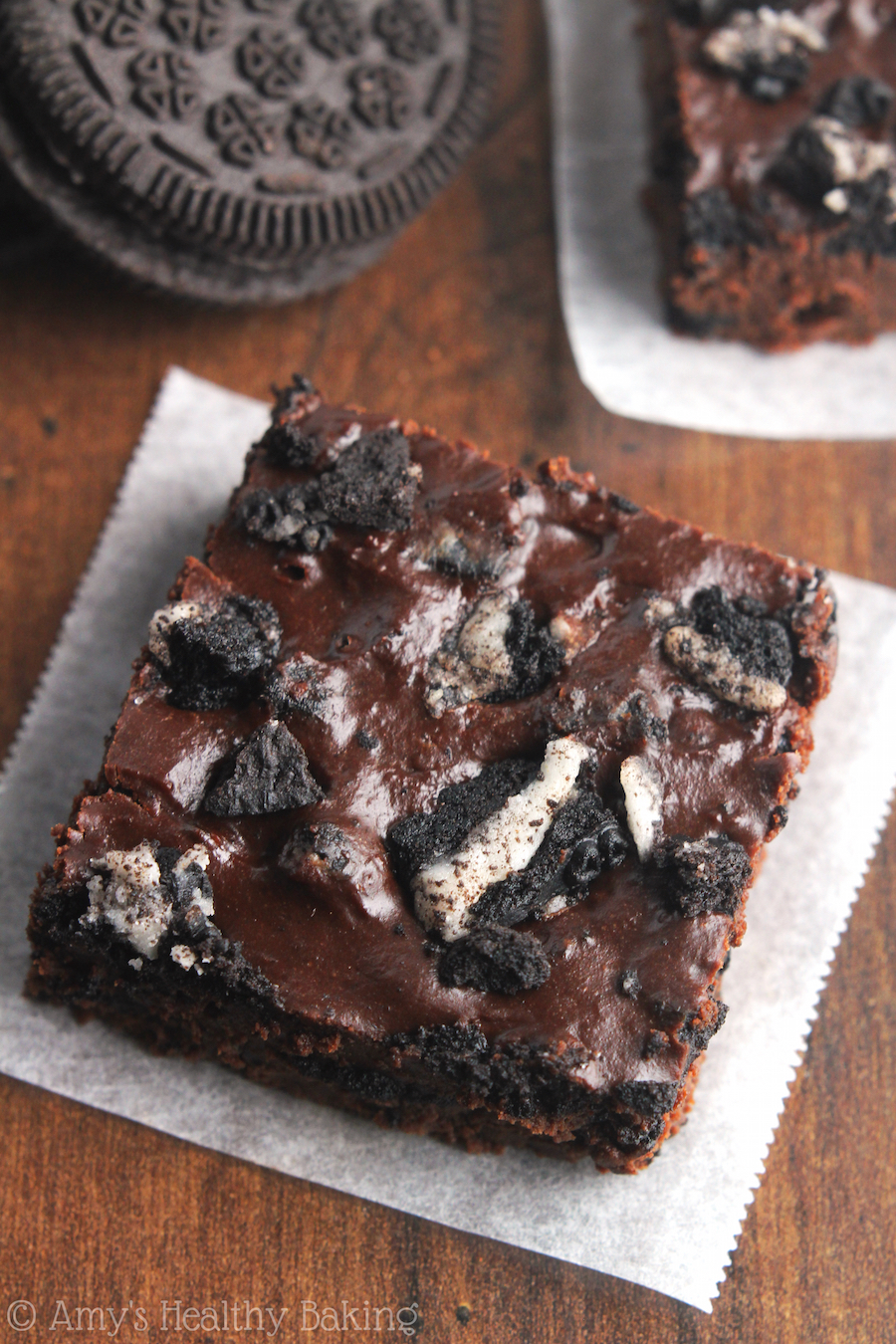 Skinny Cookies 'n Cream Brownies -- for serious chocoholics! Decadent, fudgy & full of Oreos. The BEST 100 calories I've ever eaten!