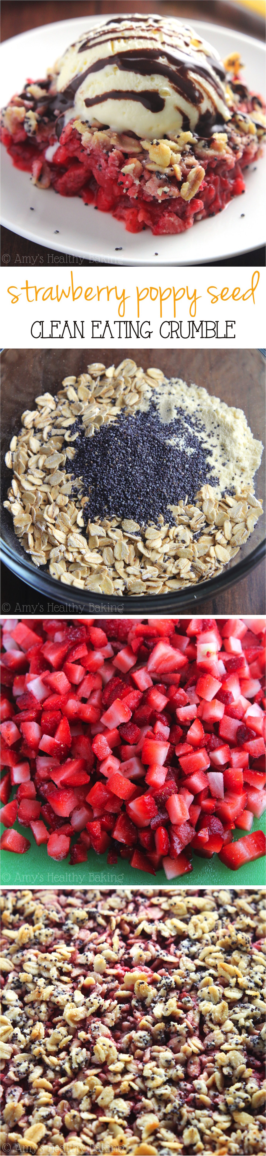 Clean-Eating Strawberry Poppy Seed Crumble -- this easy dessert is healthy enough for breakfast! It has a full serving of fruit & just 115 calories!