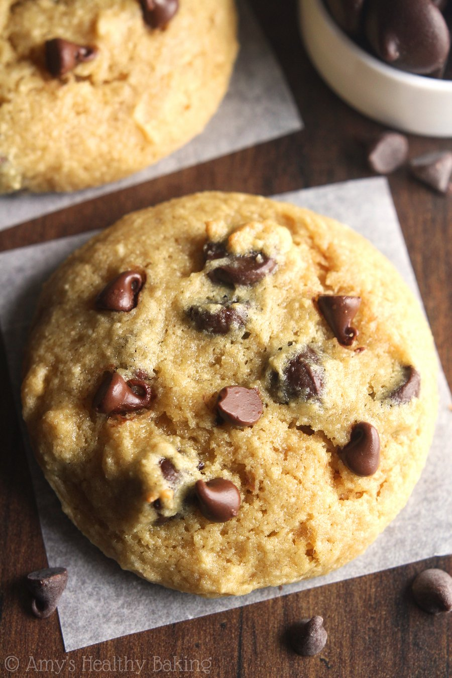 The ULTIMATE Soft & Chewy Gluten-Free Chocolate Chip Cookies -- these skinny cookies don't taste healthy at all! You'll never need another chocolate chip cookie recipe again!