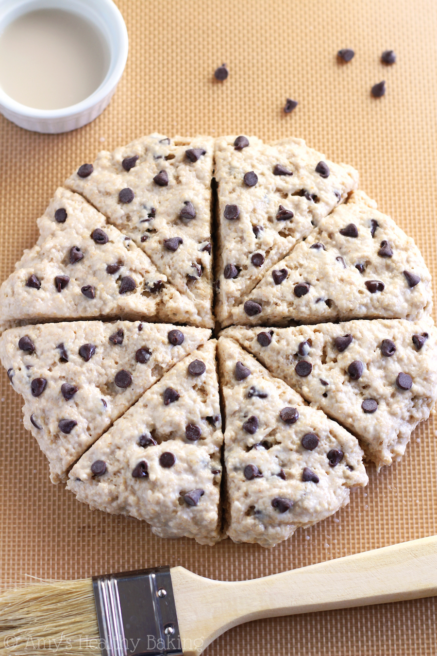 My easy step-by-step photo directions for how to make the BEST Clean-Eating Chocolate Chip Scones!