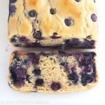 Lemon Blueberry Breakfast Loaf -- an easy clean-eating recipe that practically tastes like cake! This skinny quick bread don't taste healthy at all!