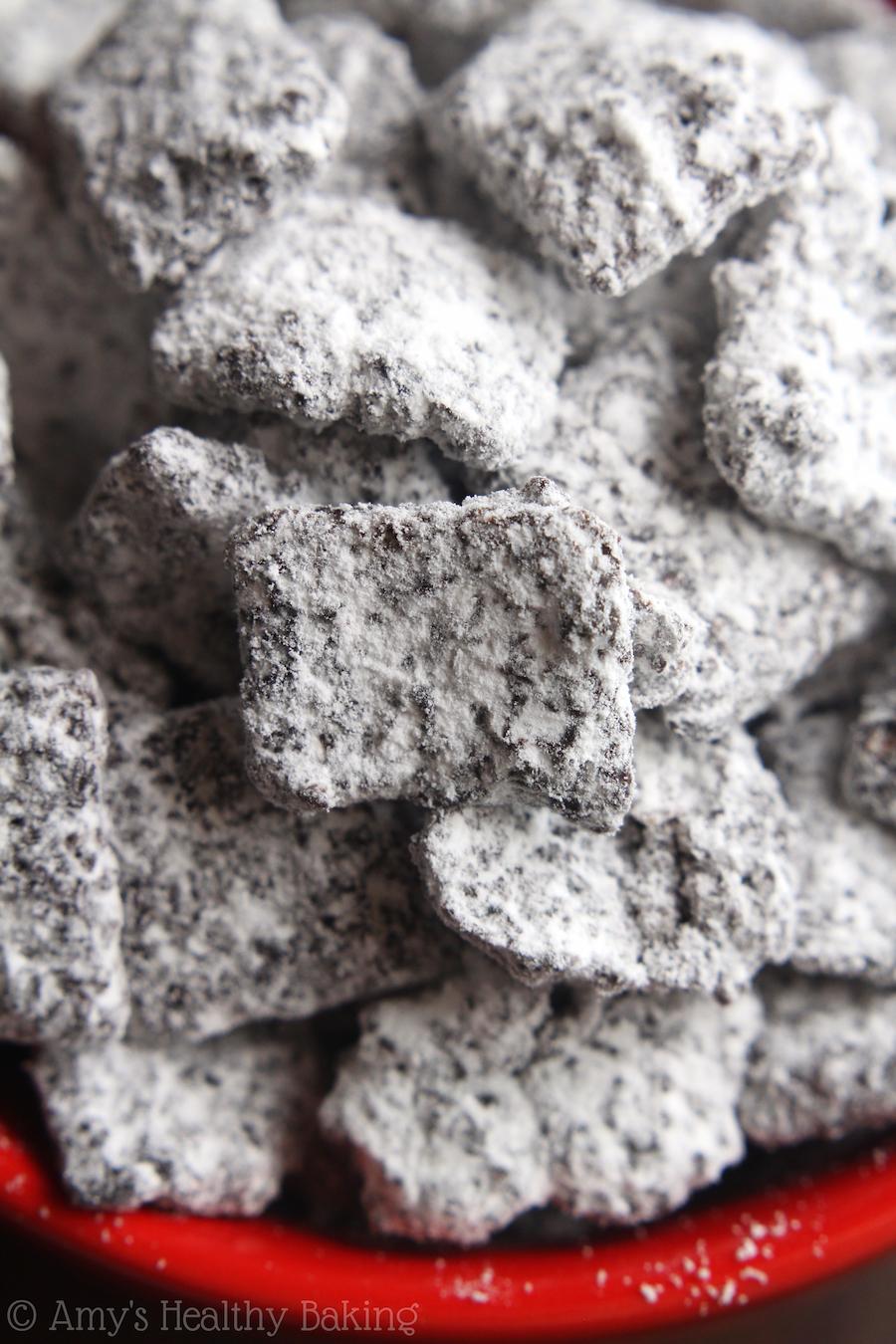 Skinny Mocha Muddy Buddies -- sweet, crunchy & with 50% FEWER calories than the original recipe!