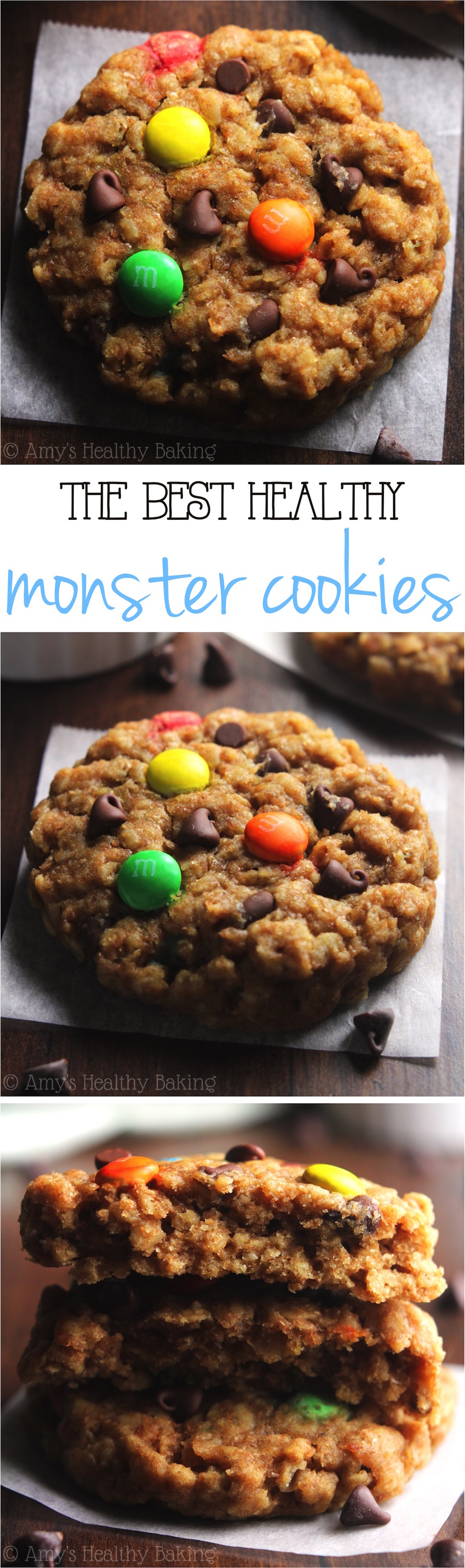 Healthy Classic Monster Cookies -- peanut butter oatmeal with LOTS of chocolate! These skinny cookies don't taste healthy at all! You'll never need another monster cookie recipe again!