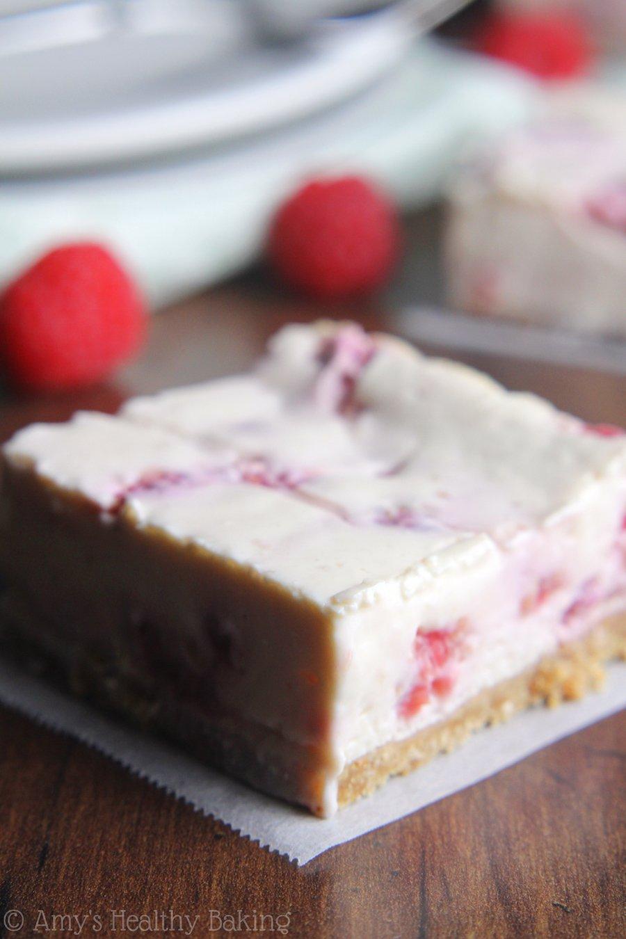 Skinny Raspberry Cheesecake Bars | Amy's Healthy Baking