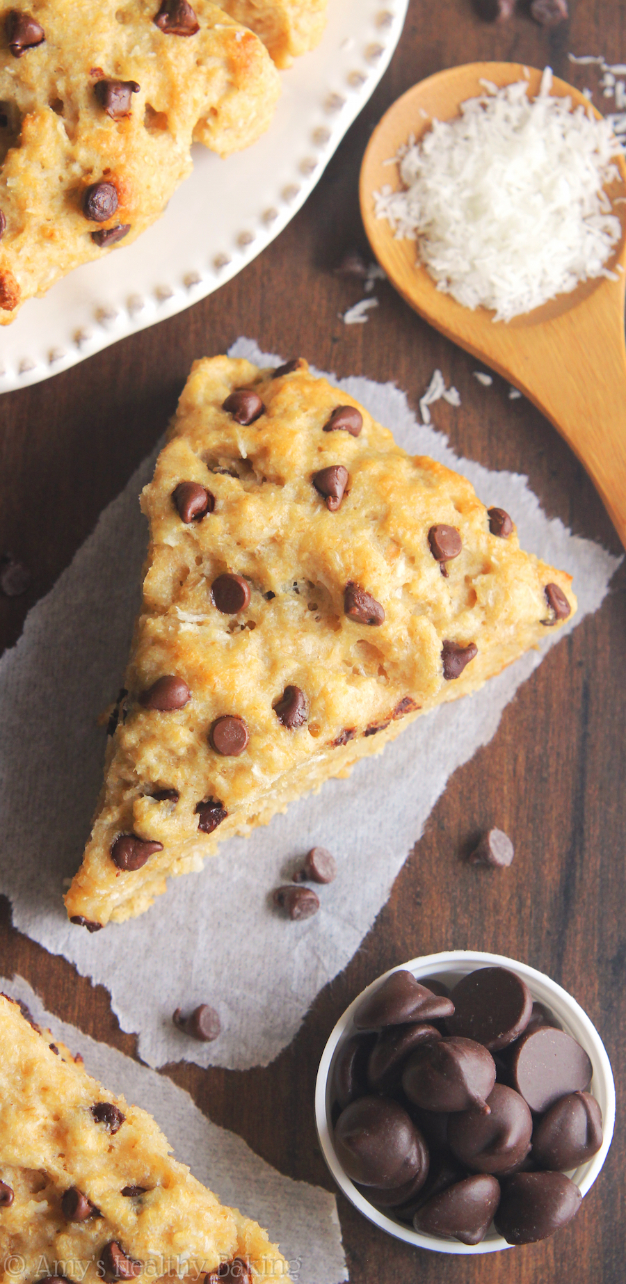 Clean-Eating Almond Joy Scones -- they taste like the candy bars! So easy, supremely tender & packed with almost 5g of protein!