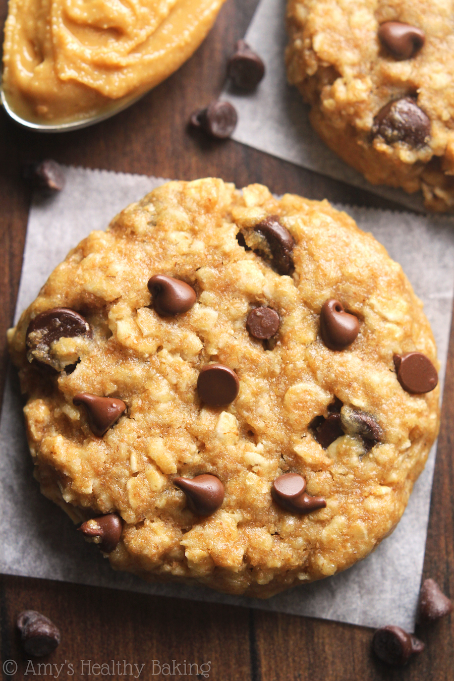 Chocolate Chip Almond Butter Oatmeal Cookies | Amy's Healthy Baking