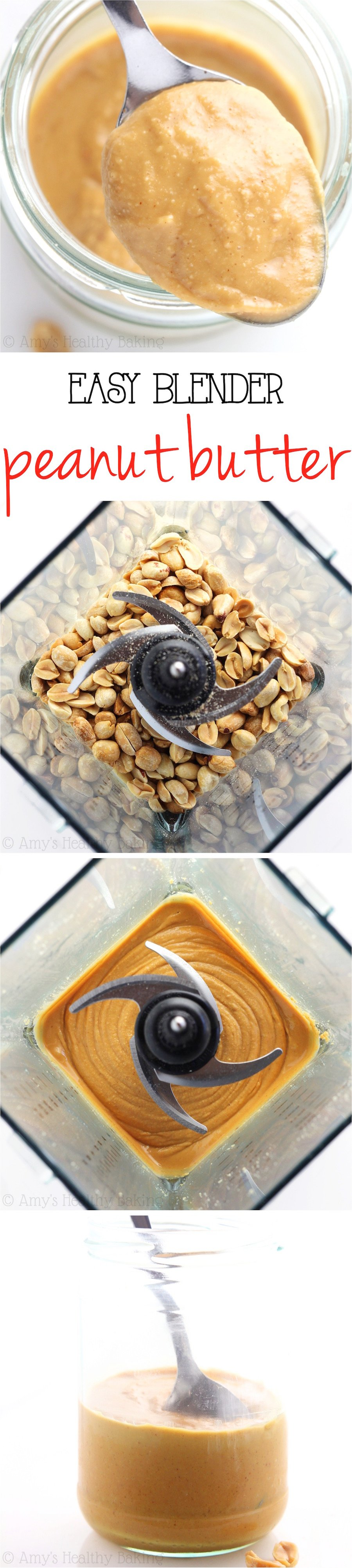 Easy Blender Peanut Butter -- you just need 2 ingredients & 5 minutes! This tastes SO much better than store-bought. I'm never going back!