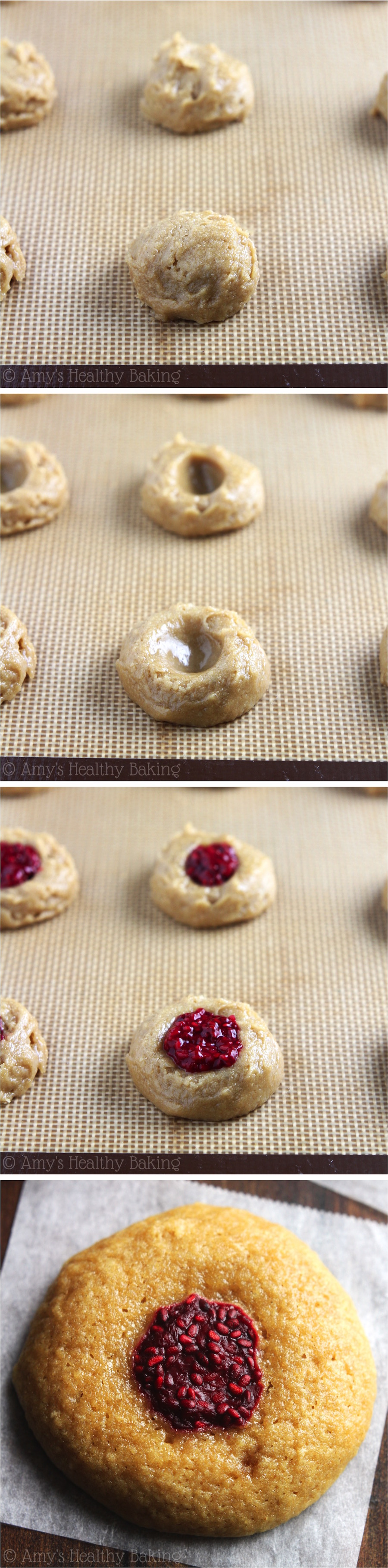 Clean Eating Raspberry Thumbprint Cookies -- chewy, buttery & SO addictive! Just 48 calories, but these skinny cookies don't taste healthy at all!