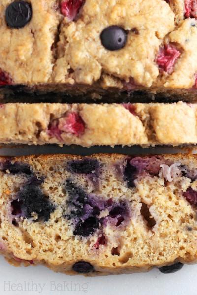 Whole Wheat Strawberry Blueberry Banana Bread {Recipe Video!}