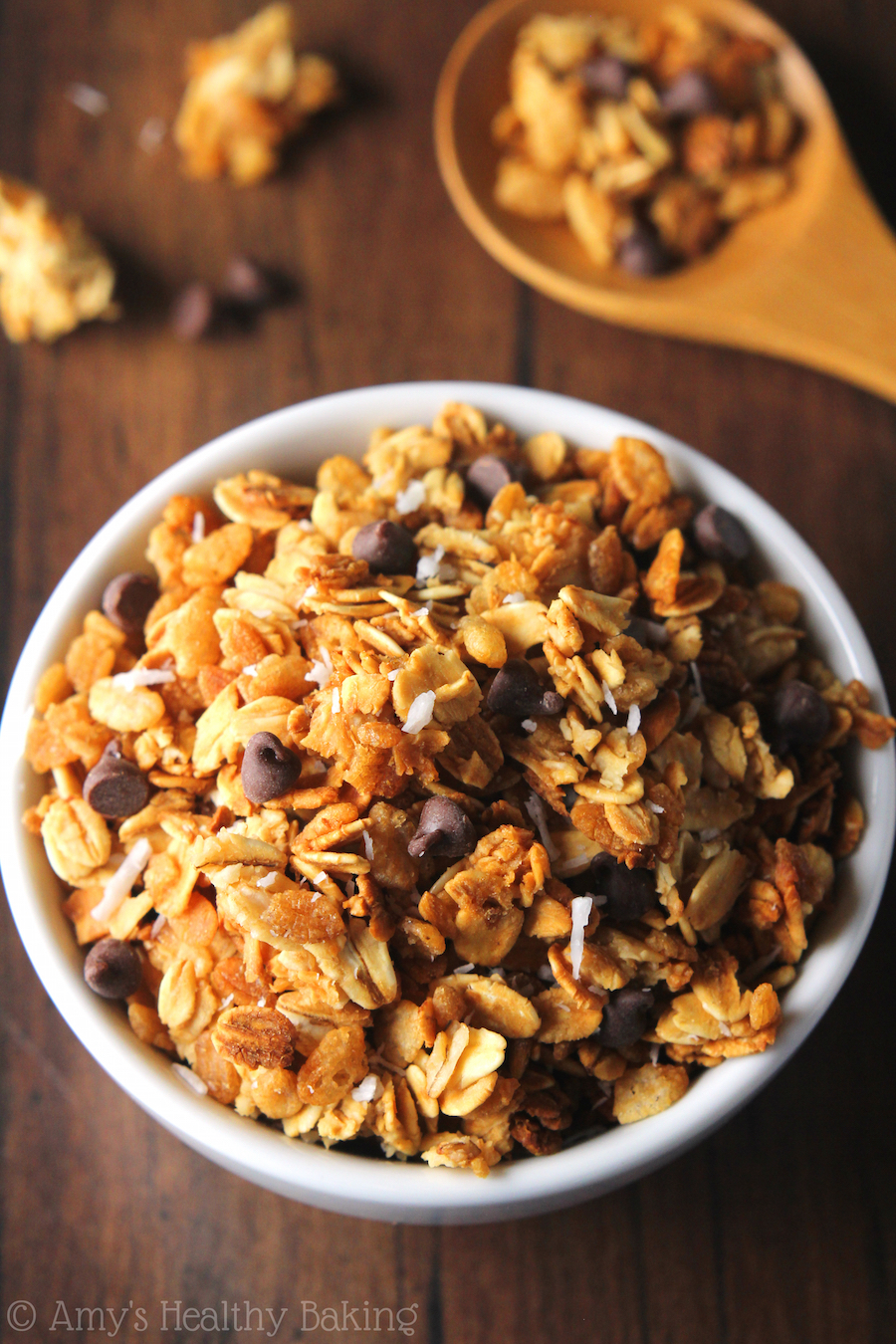 "Clean-Eating Almond Joy Granola -- a healthy, super easy recipe full of clusters that lets you eat ""candy"" for breakfast!"