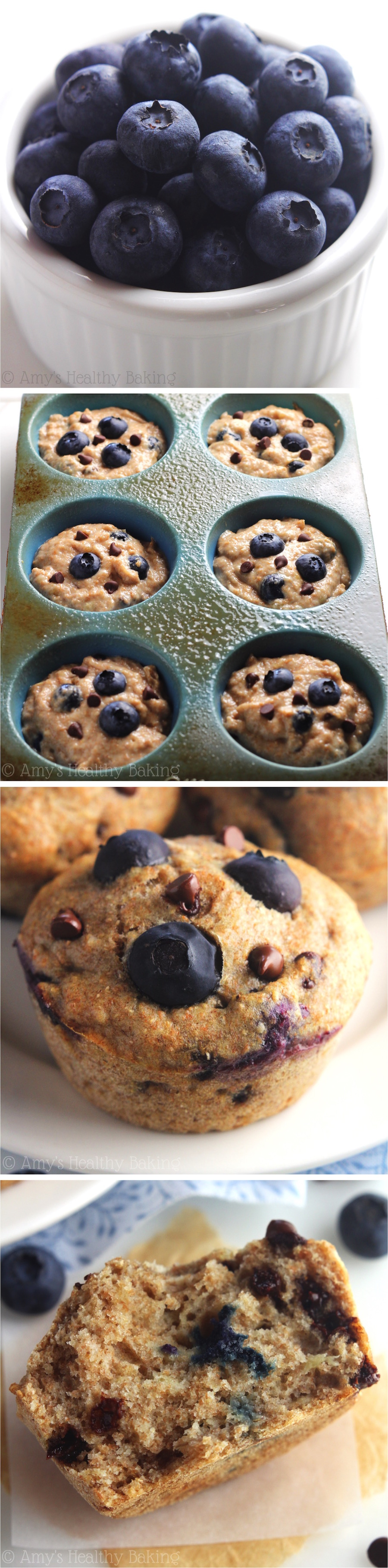 Clean-Eating Chocolate Chip Blueberry Banana Muffins -- this healthy recipe has the same texture cupcakes! Just 135 calories & packed with 3 superfoods!