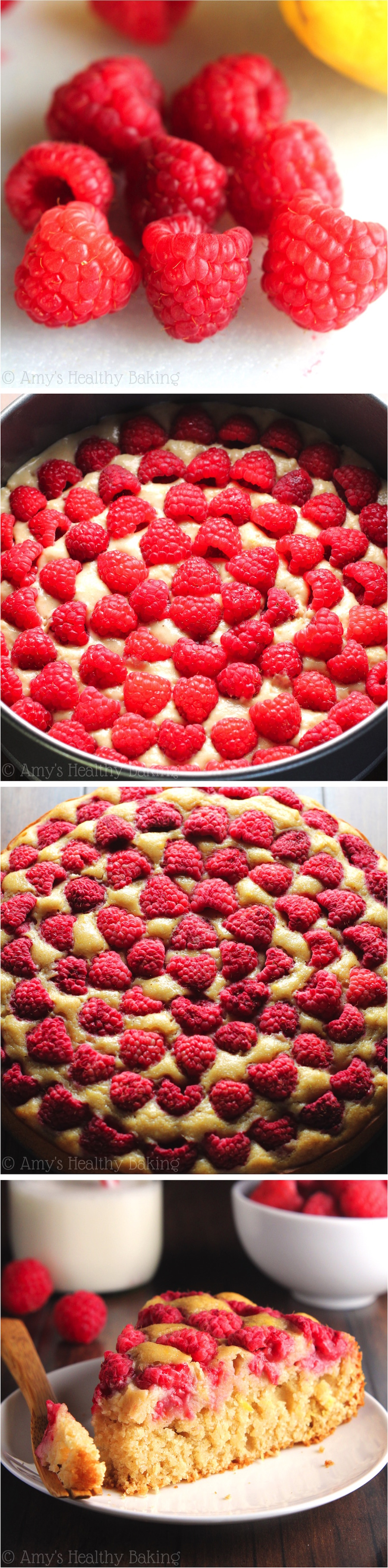 Simple Raspberry Lemon Cake -- SO easy to make & always a huge hit! It's clean-eating & secretly healthy enough for breakfast!