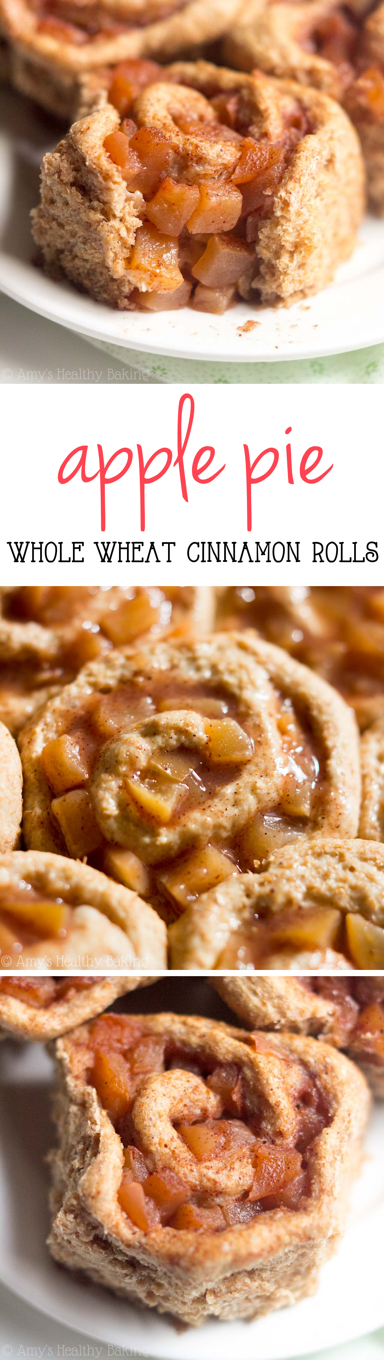 Whole Wheat Apple Pie Sweet Rolls -- like eating dessert for breakfast without any guilt! SO good & just 110 calories!