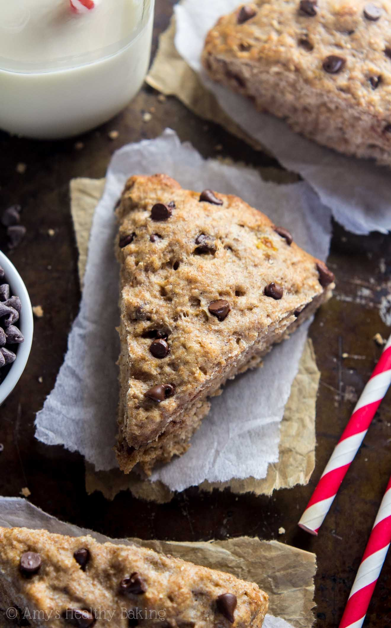 Healthy Chocolate Chip Banana Bread Scones with yogurt and no sugar