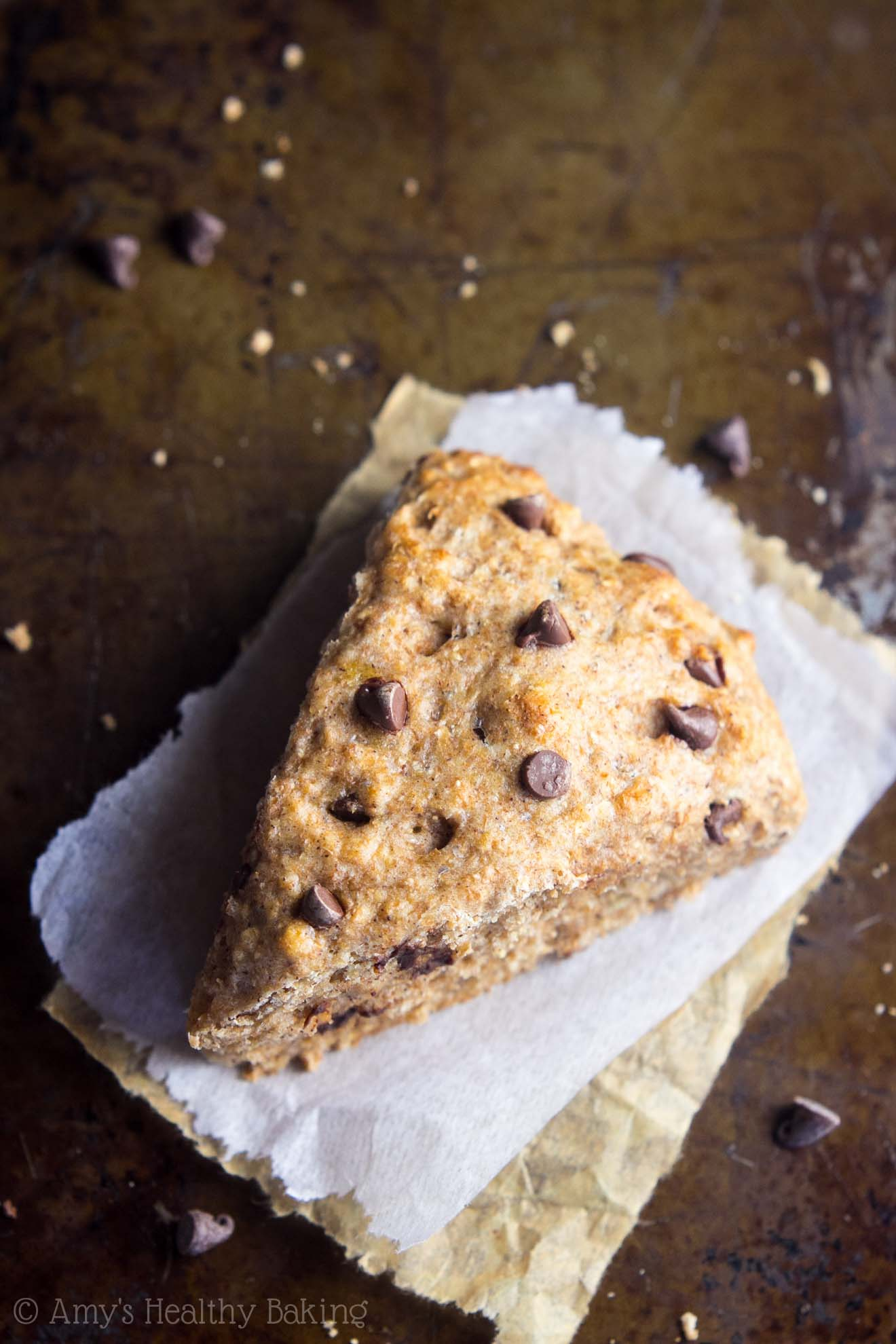 Easy Healthy Whole Wheat Chocolate Chip Banana Bread Scones with yogurt and no sugar