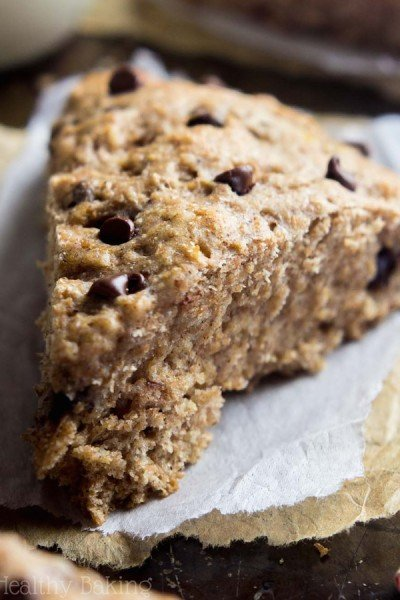 Healthy Chocolate Chip Banana Bread Scones