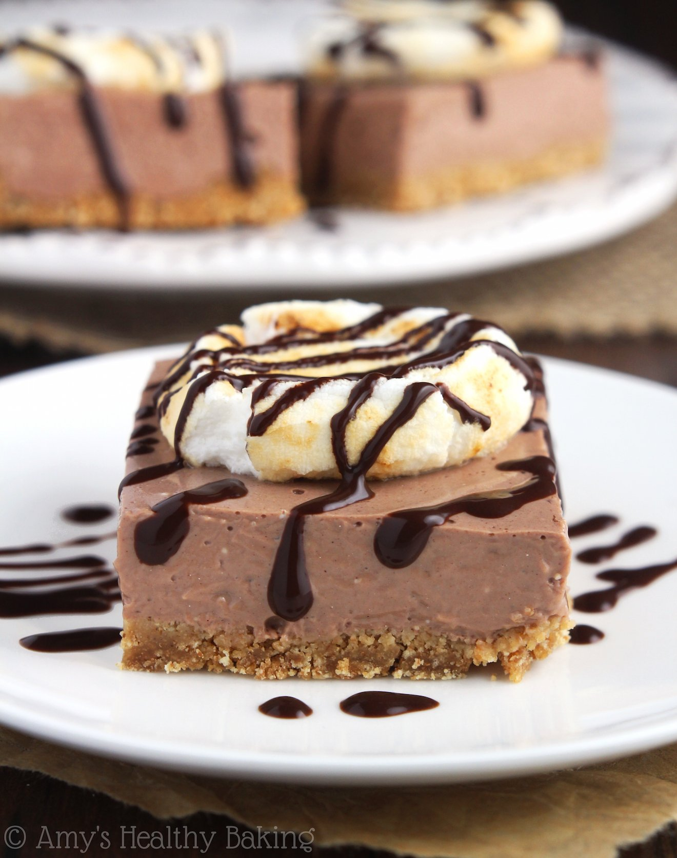 S'mores Cheesecake Bars from the Healthier Chocolate Treats Cookbook!