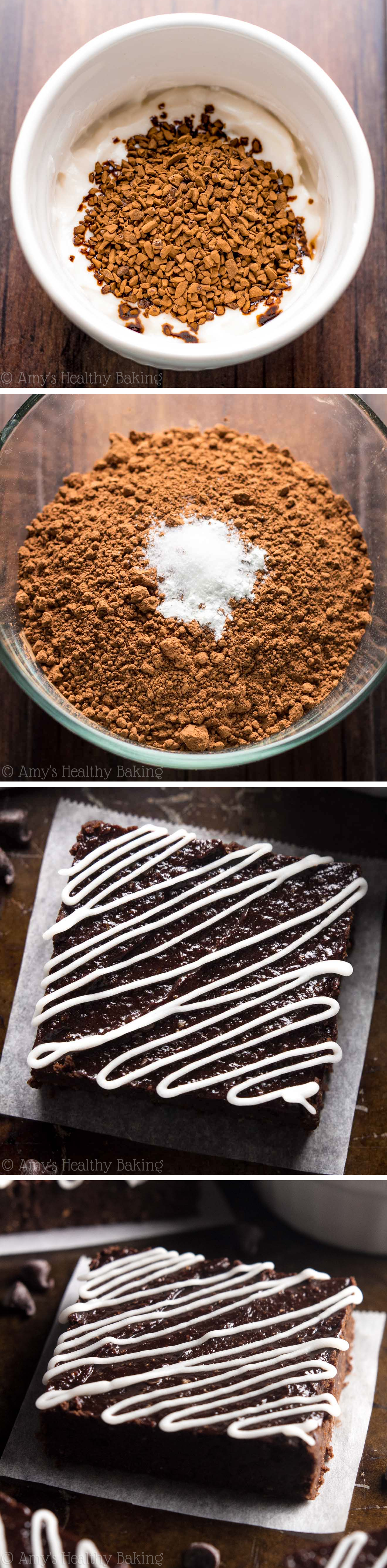 Fudgy Peppermint Mocha Brownies -- these clean-eating brownies don't taste healthy at all! They're insanely rich, as easy as a box mix & only 77 calories!