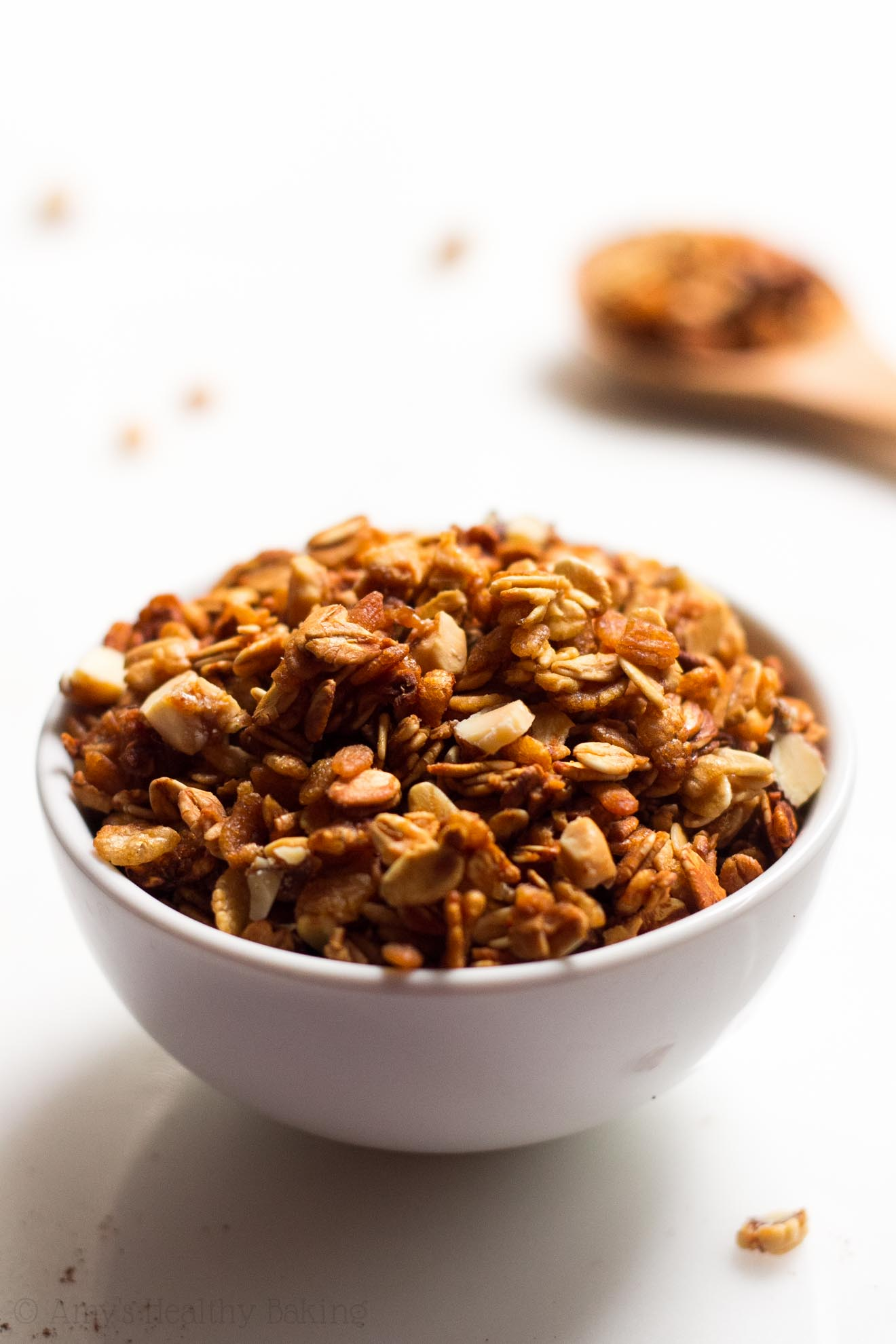 Simple Honey Nut Granola -- a healthier, 5-ingredient recipe for granola full of crunchy clusters! SO much better than store-bought!