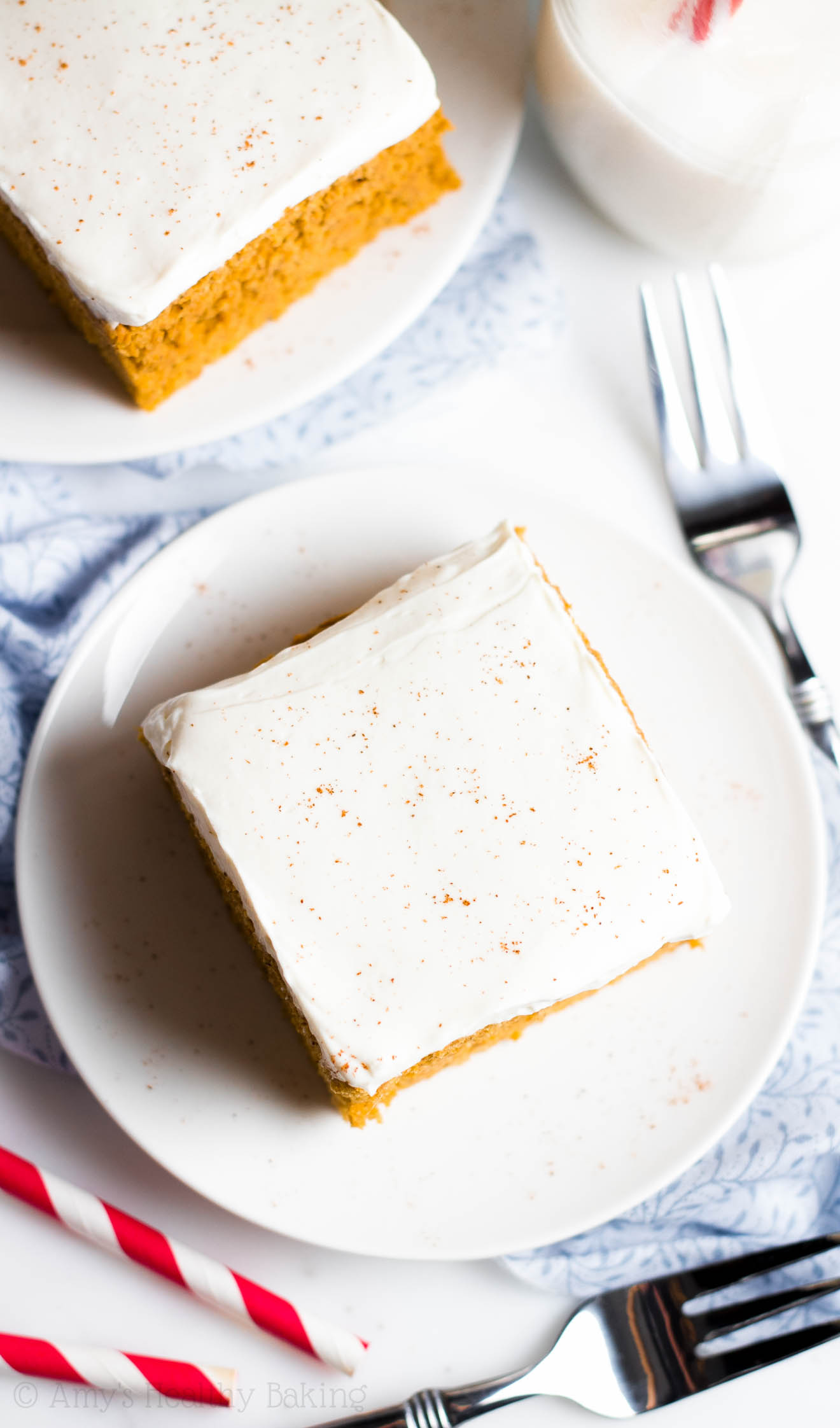 The BEST Pumpkin Cake with Cream Cheese Frosting -- where has this recipe been all my life?? SO tender & addictive. Nobody could tell this clean-eating cake is healthy!